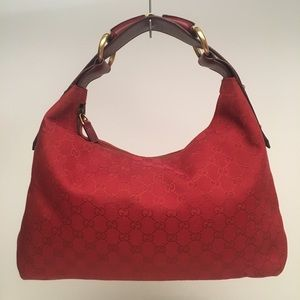 Gucci Red Monogram Canvas Medium Horsebit Hobo